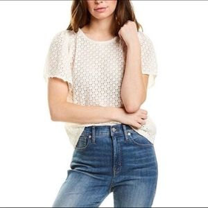 Madewell Texture and Thread eyelet flutter top